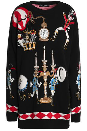 Dolce & Gabbana Woman Embellished Jacquard-knit Cashmere Sweater Black