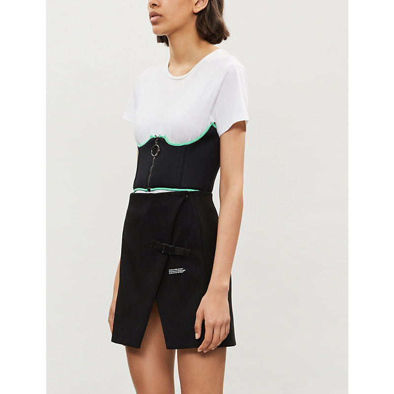 Off-white Asymemtric Stretch-crepe Mini Skirt In Black