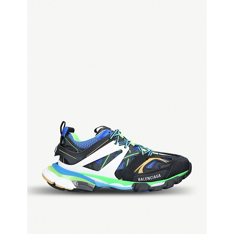 Balenciaga Men's Runway Track Sneakers, Blue/Green In 1097Noir/B