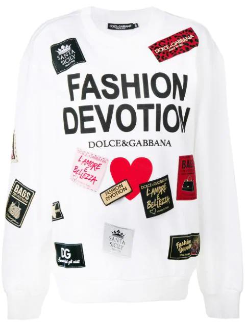 Dolce & Gabbana Fashion Devotion Printed Cotton Sweatshirt In White