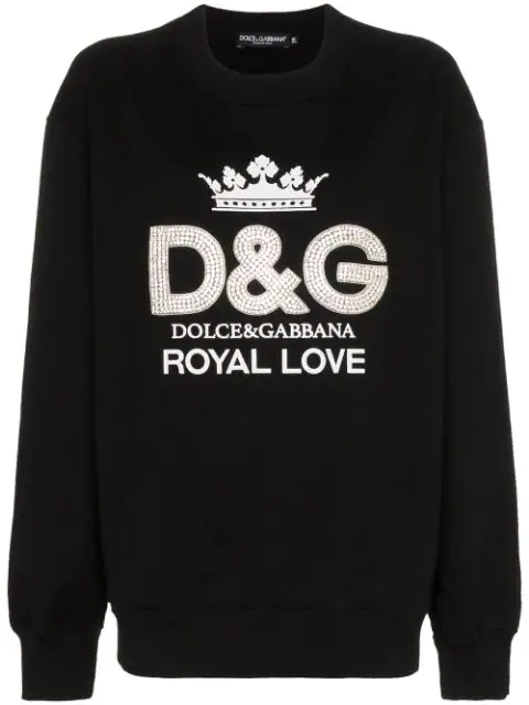 Dolce & Gabbana Crewneck Crystal-embroidered Logo Cotton Sweatshirt In Black