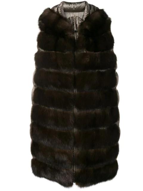 Liska Padded Fur Waistcoat In Brown