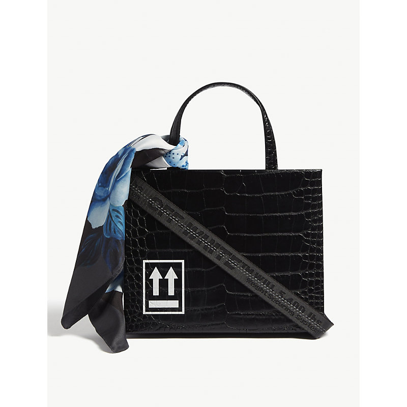 Off-white Black Leather With Cocco Print Handbag