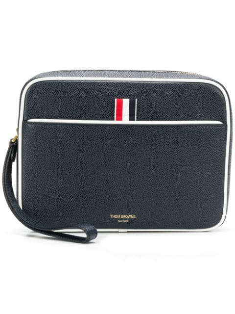 Thom Browne Wrist Strap Pebbled Leather Dopp Kit In Blue