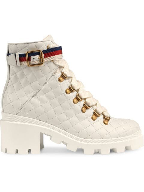 Gucci Grosgrain-trimmed Quilted Leather Ankle Boots In 9068 White