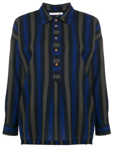 AcotÉ Striped Henley Blouse - Blue