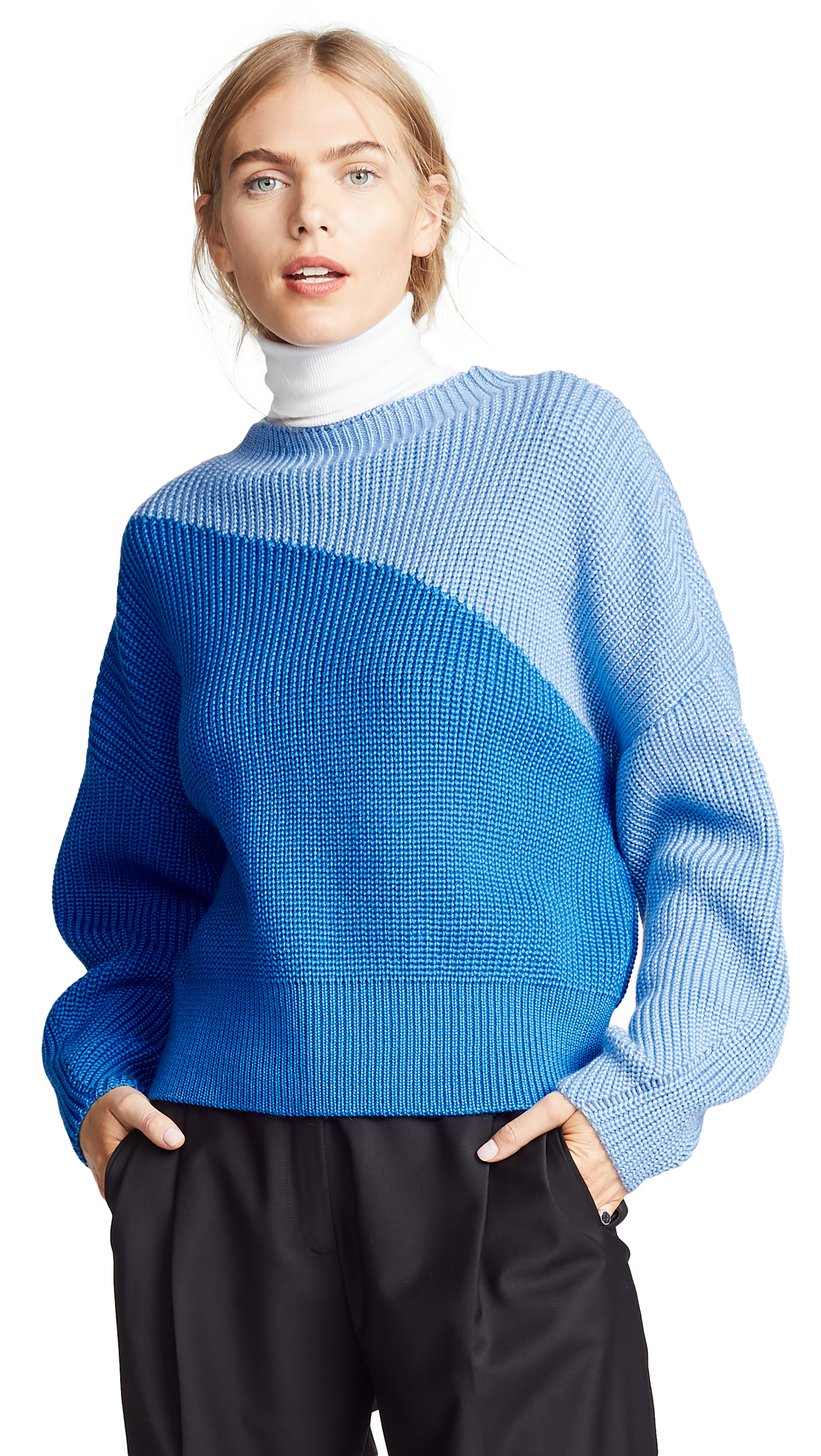 Anna October Wool Colorblock Sweater In Blue
