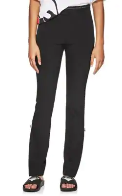 Prada Logo-Waist Stretch-Twill Leggings In Black
