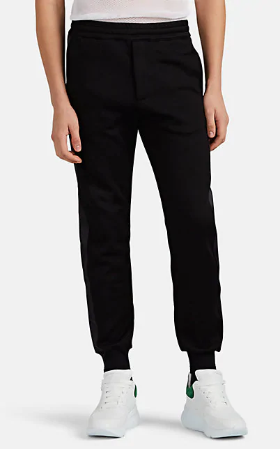 Alexander Mcqueen Cotton-Blend Tuxedo Jogger Pants In Black