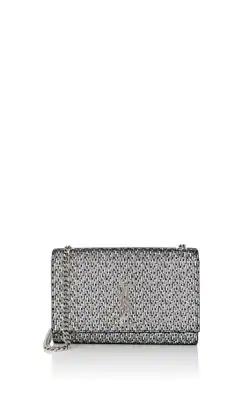 6e2bed705a48 Saint Laurent Kate Monogram Ysl Small Metallic Chevron Fabric Crossbody Bag  In Silver
