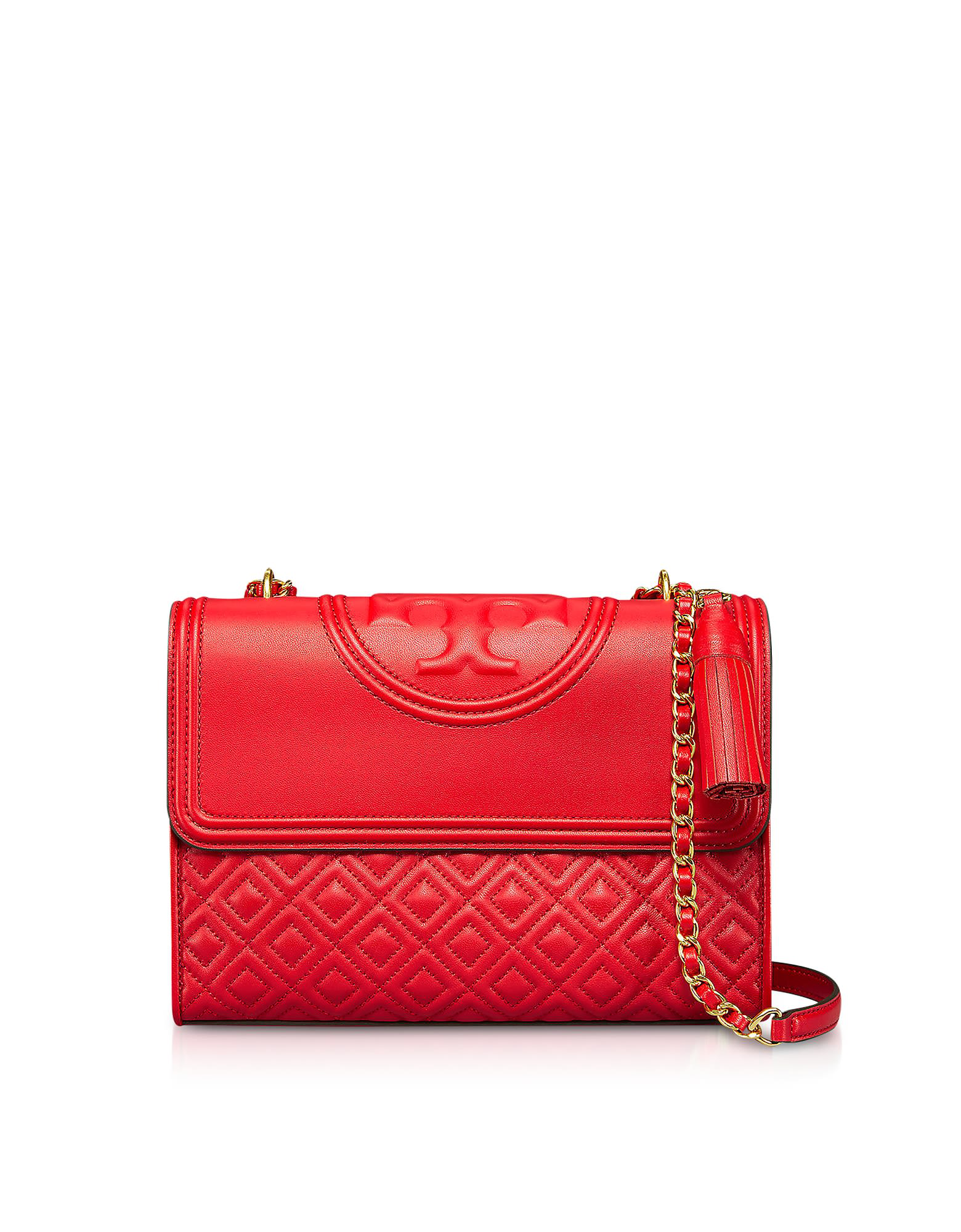 02d14730bda Tory Burch Quilted Leather Fleming Convertible Shoulder Bag In Red ...