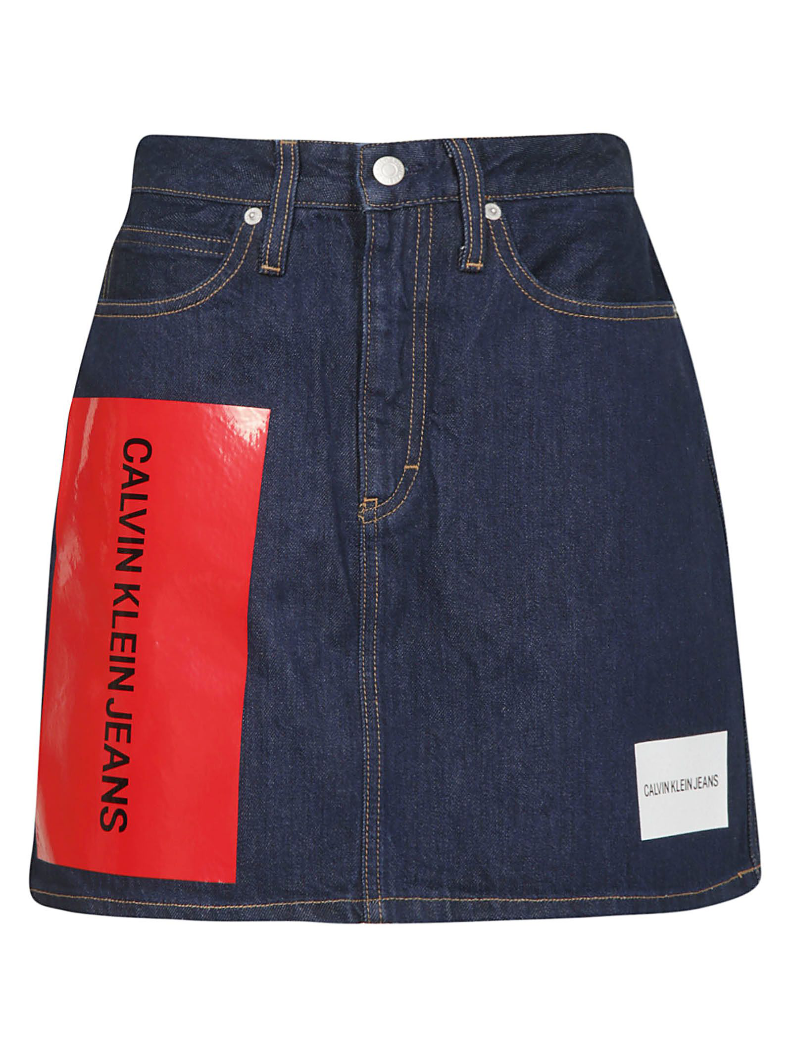 977037db6767 Calvin Klein Jeans Cotton Logo Mini Skirt In Blue | ModeSens