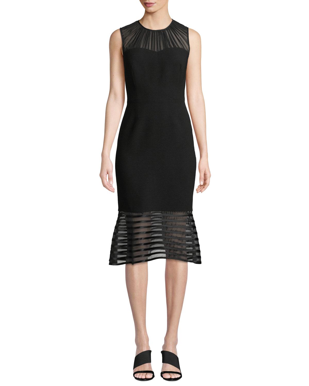 2deef2ee1c4 Elie Tahari Paris Sheer-Striped Fit- -Flare Cocktail Dress In Black ...