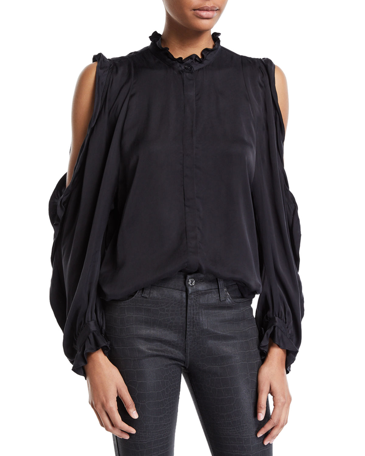 73bff8c3a93 7 For All Mankind Cold-Shoulder Ruffle Button-Front Top In Jet Black ...