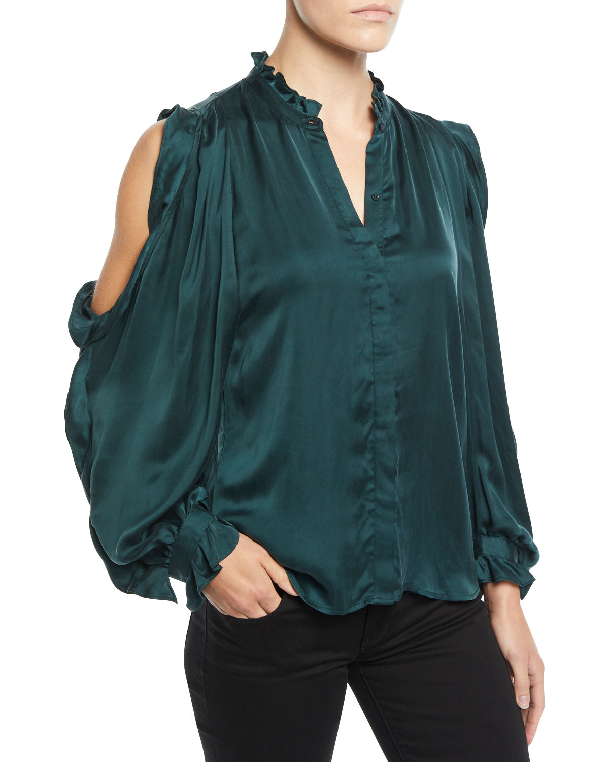 9293fec09fd383 7 For All Mankind Cold-Shoulder Ruffle Button-Front Top In Dark Forest Green