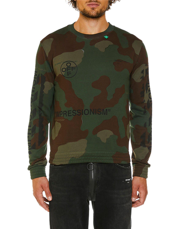 Off-White Men's Camo Diagonal-Arrows Sweatshirt In Green