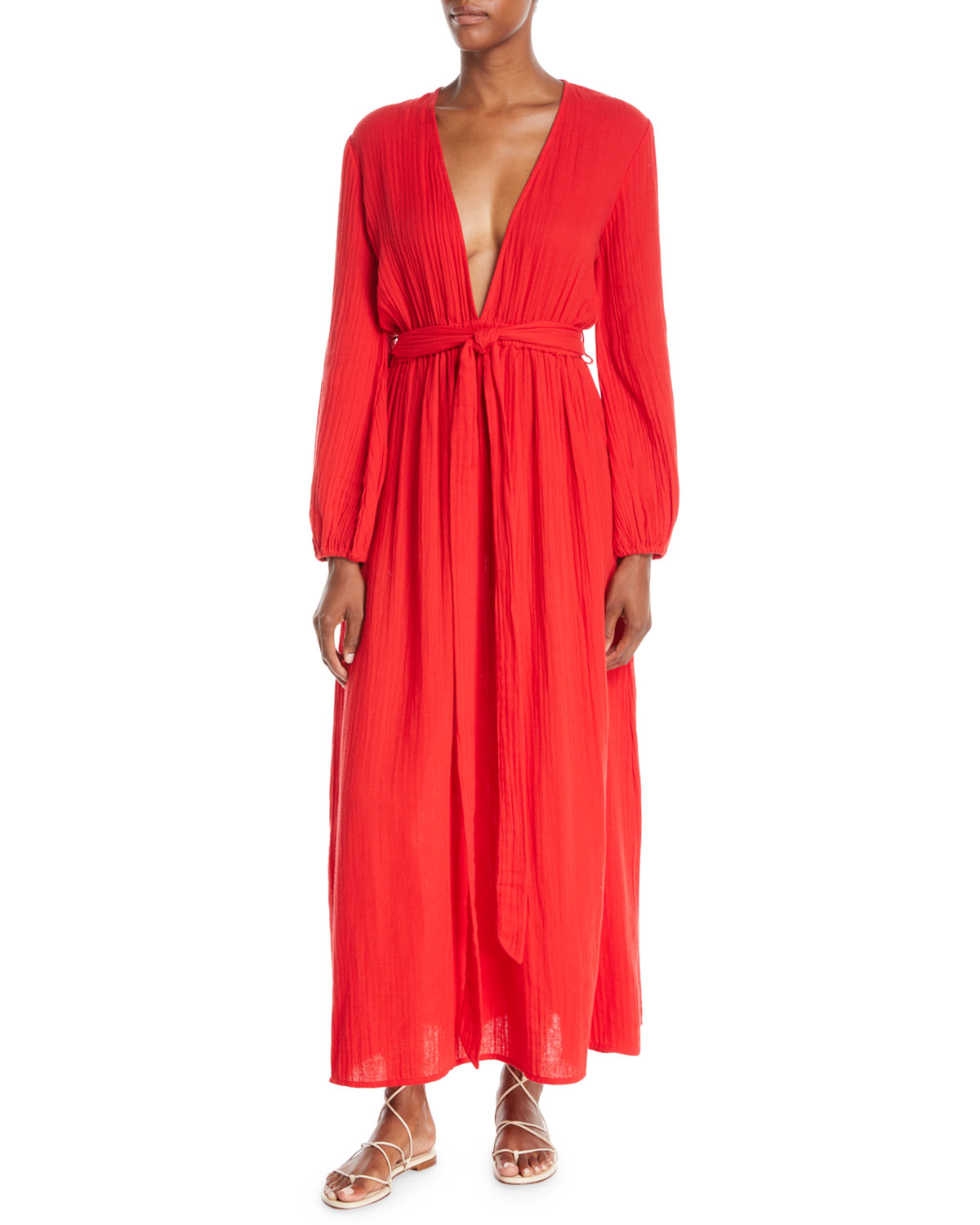 e6d068f1f77fe Mara Hoffman Luna Plunging Long-Sleeve Cotton Gauze Maxi Dress In Red