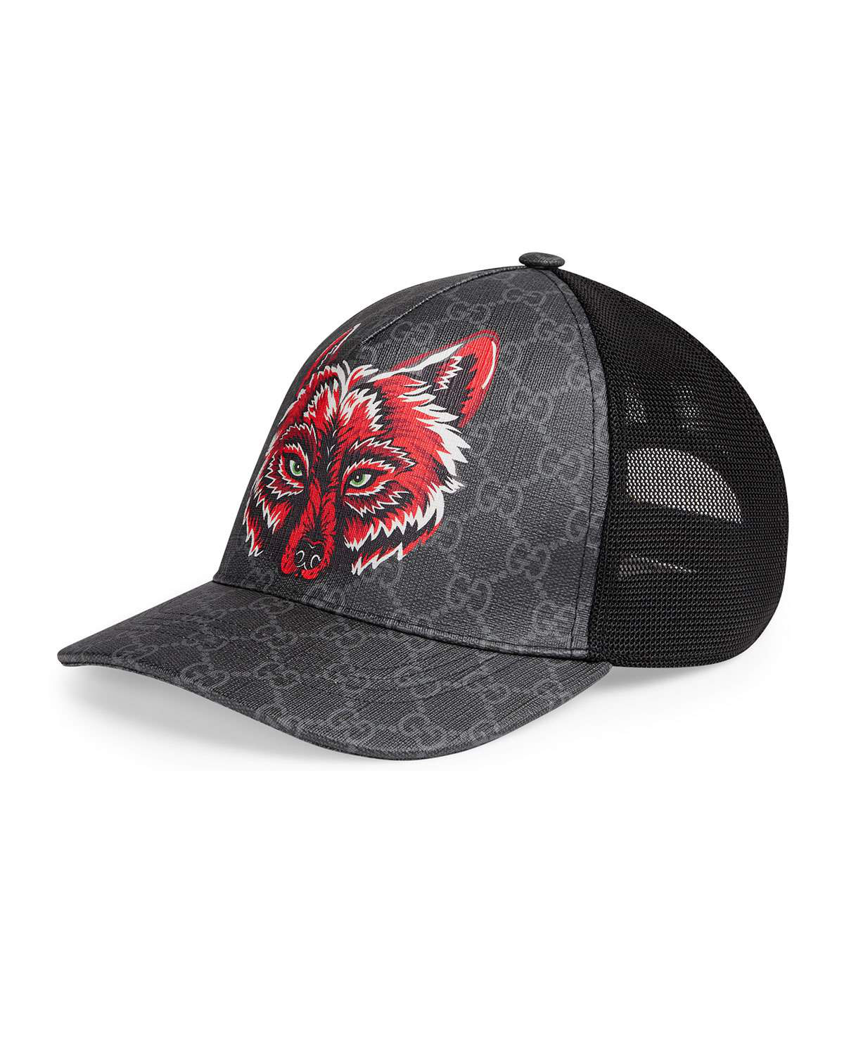 181721f022dd Gucci Men's Wolf Head Gg-Supreme Baseball Cap In Black | ModeSens