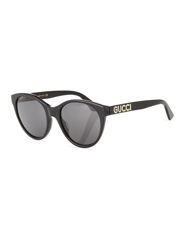 01474c38b Gucci 54Mm Round Cat Eye Sunglasses - Black/ Crystal/ Solid Grey ...