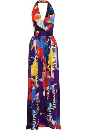 Balmain Multiprint Halterneck Gown In Multicolour