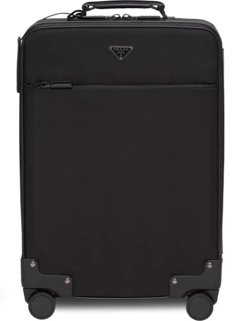 Prada Logo Four-wheel Suitcase In Black