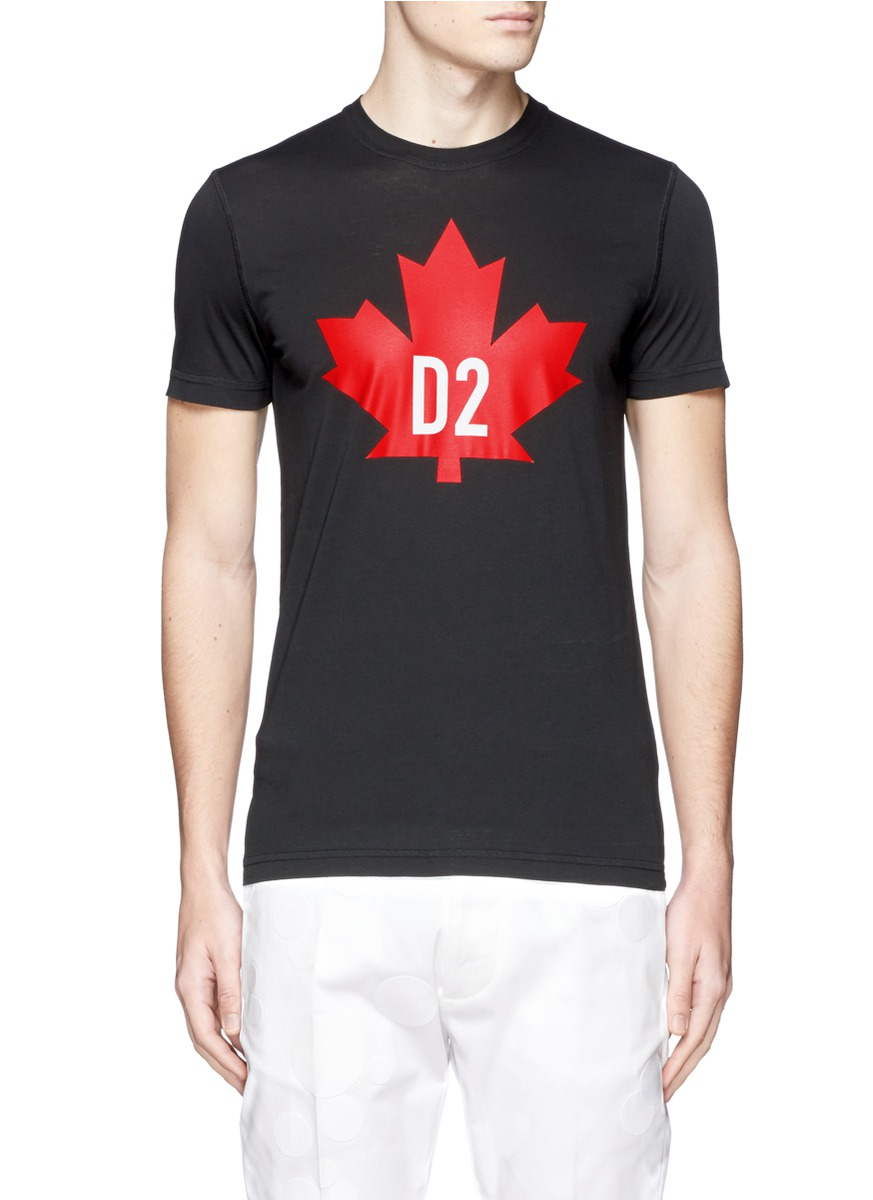 97904de37ea Dsquared2 Maple Leaf Printed Cotton Jersey T-Shirt