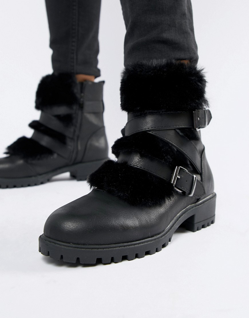 New Look Strappy Boots-black