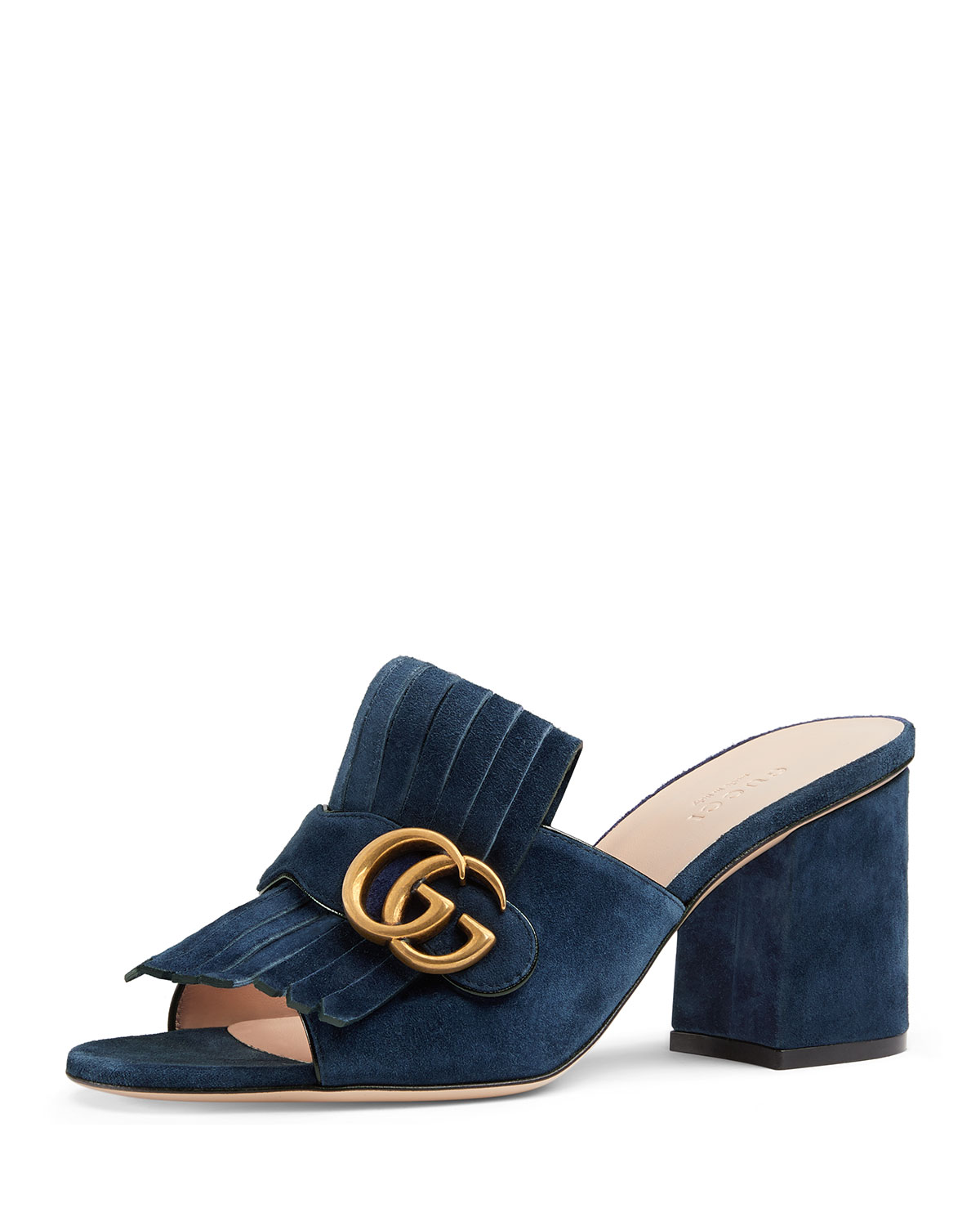 c10a9d99d55 Gucci Suede Mid-Heel Slide With Double G In Blue