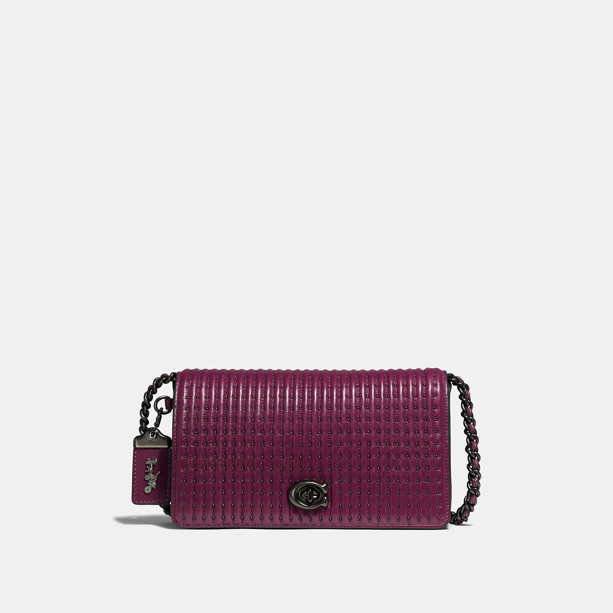 0bda8019153bb Coach Dinky With Quilting And Rivets In Dark Berry Pewter