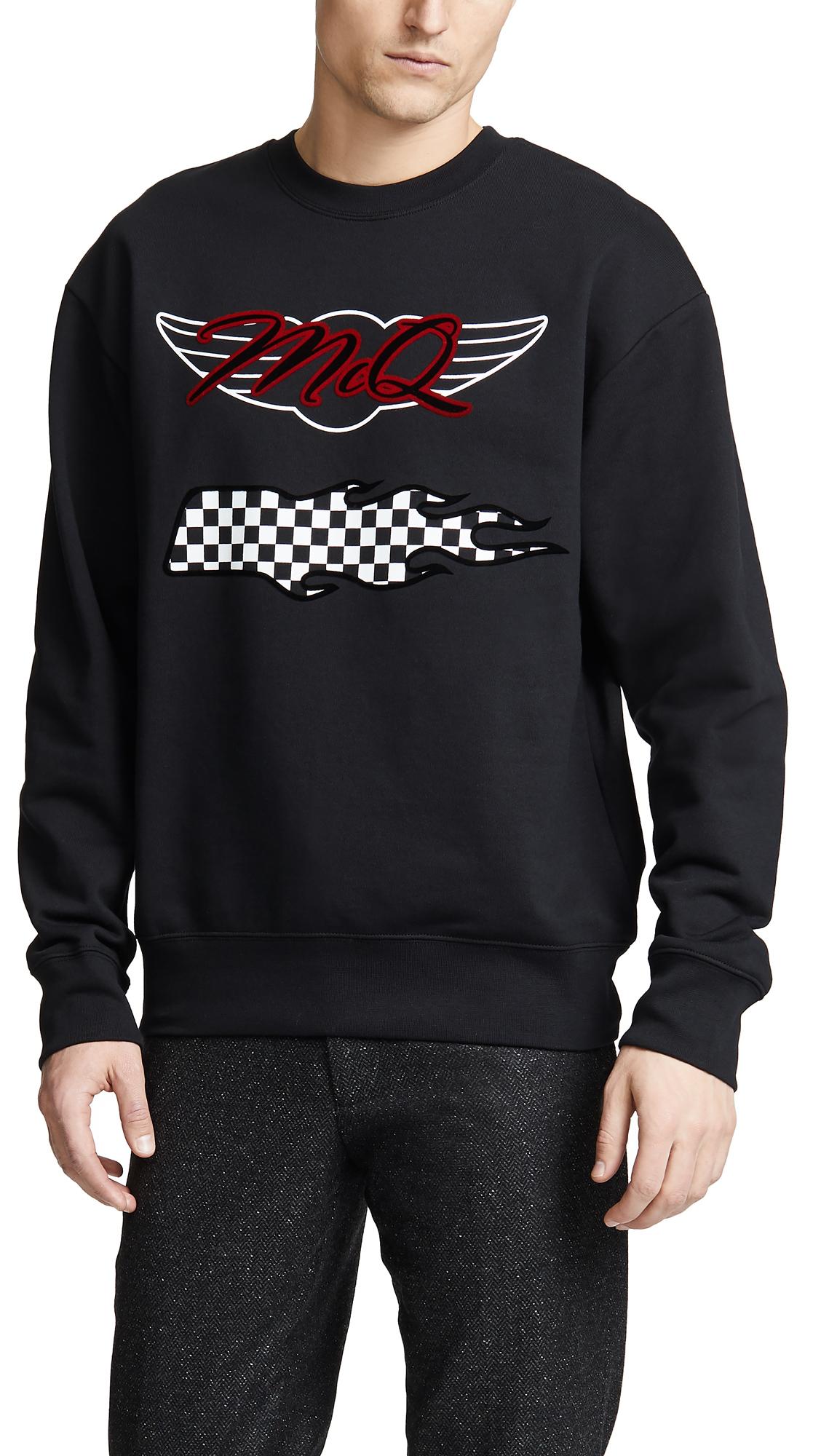 65f368cadb Mcq By Alexander Mcqueen Mcq Alexander Mcqueen Black Oversized Racing Logo  Sweatshirt