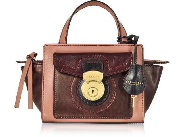 The Bridge Rufina Small Leather Satchel Bag In Burgundy/dark Pink