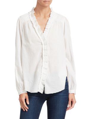 54ab9461f2b8a2 Sea Solange Long-Sleeve Button-Down Ruffle Silk Blouse In Cream ...