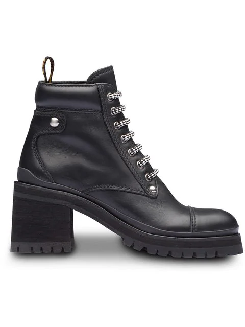 Miu Miu Lace-up Leather Lug-sole Hiker Boots In F0002 Black