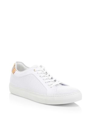 f0cc571bfc9 Paul Smith Basso Perforated Stripe Rainbow-Trim Leather Sneakers In 01 White