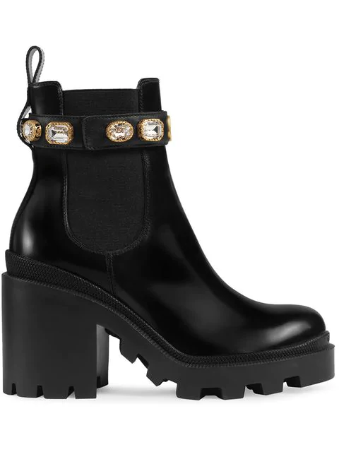 Gucci Trip Crystal-Embellished Leather Chelsea Boots In 1000 Black