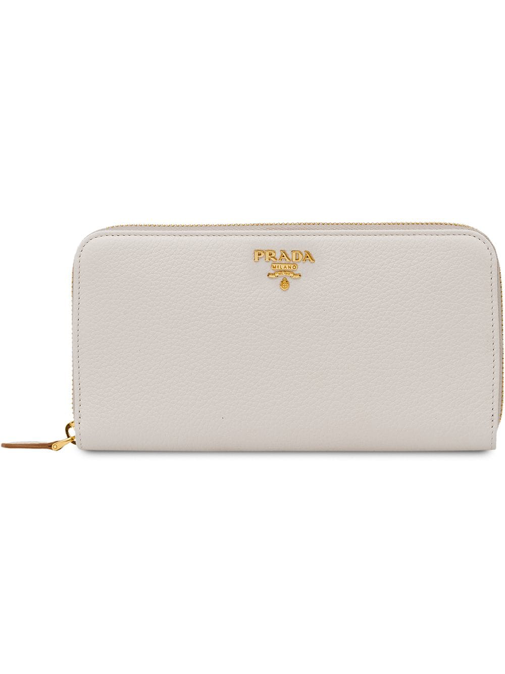 b4521a3d17 Prada Zip Around Wallet - White | ModeSens