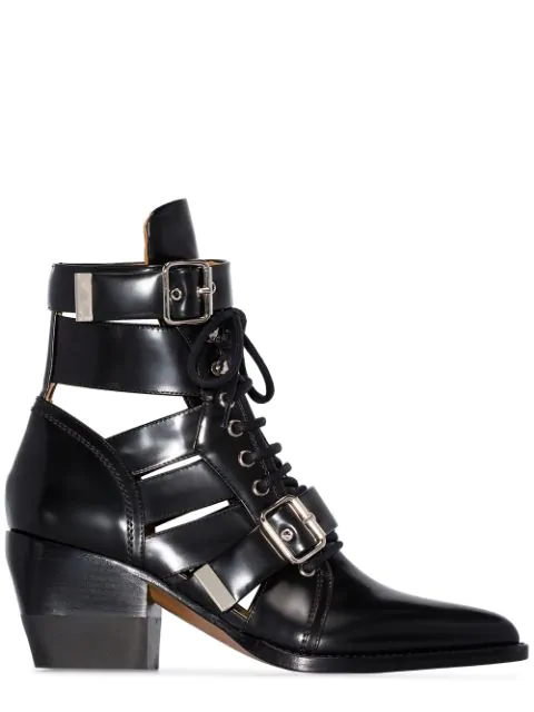 ChloÉ Black Reilly 60 Buckle Embellished Ankle Boots In 001 Black