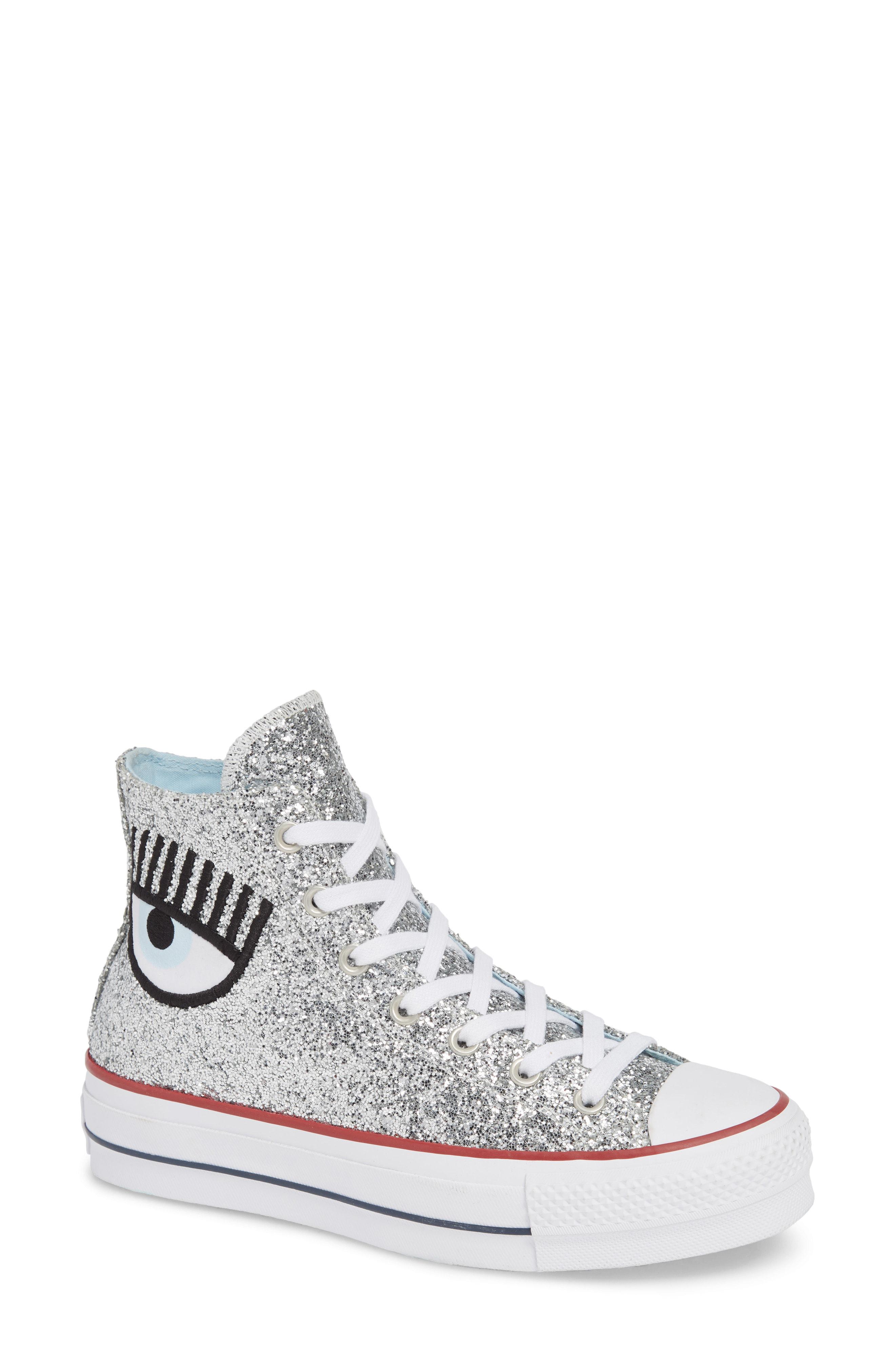 a7b6e0b825c4 Converse X Chiara Ferragni Women s Chuck Taylor Glitter High Top Sneakers  In Silver Glitter
