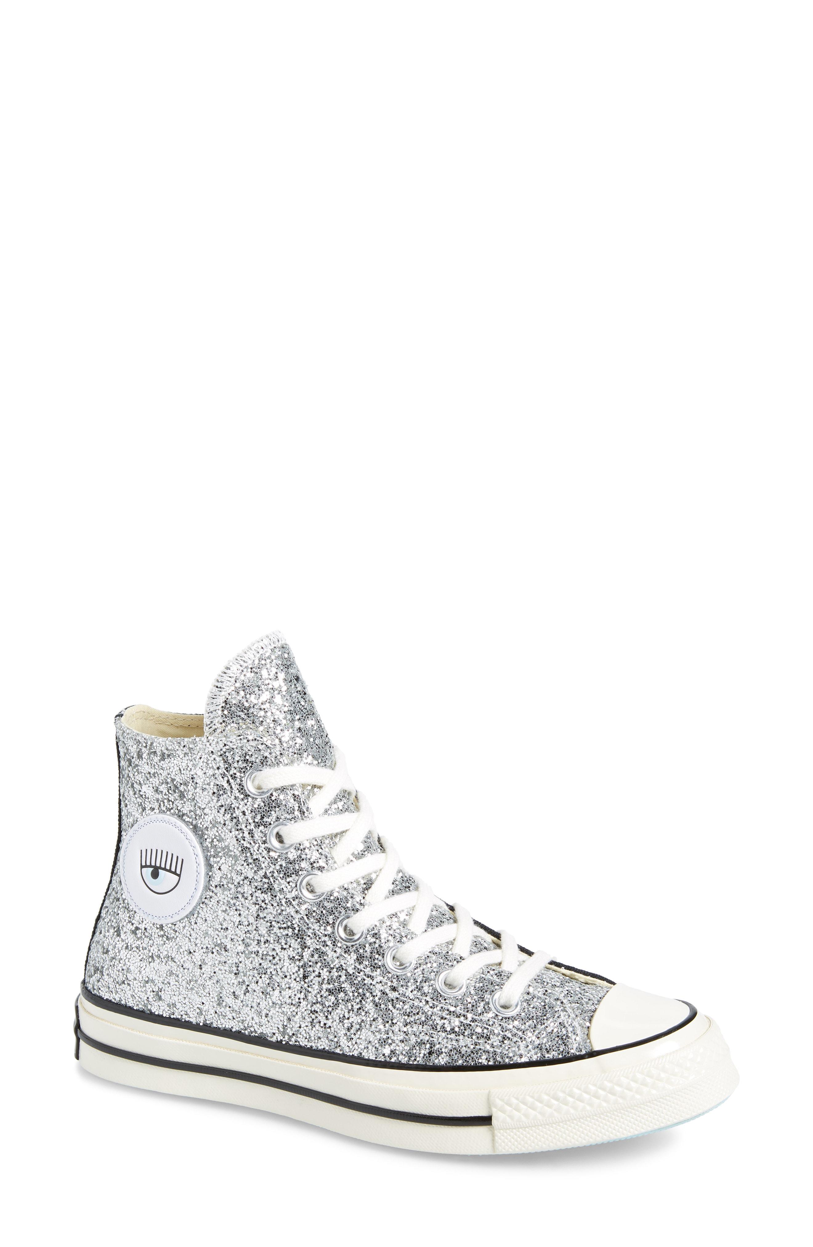 21ef8bfcf62c Converse X Chiara Ferragni Women s Chuck Taylor Tillands Glitter High Top  Sneakers In Black  Metallic