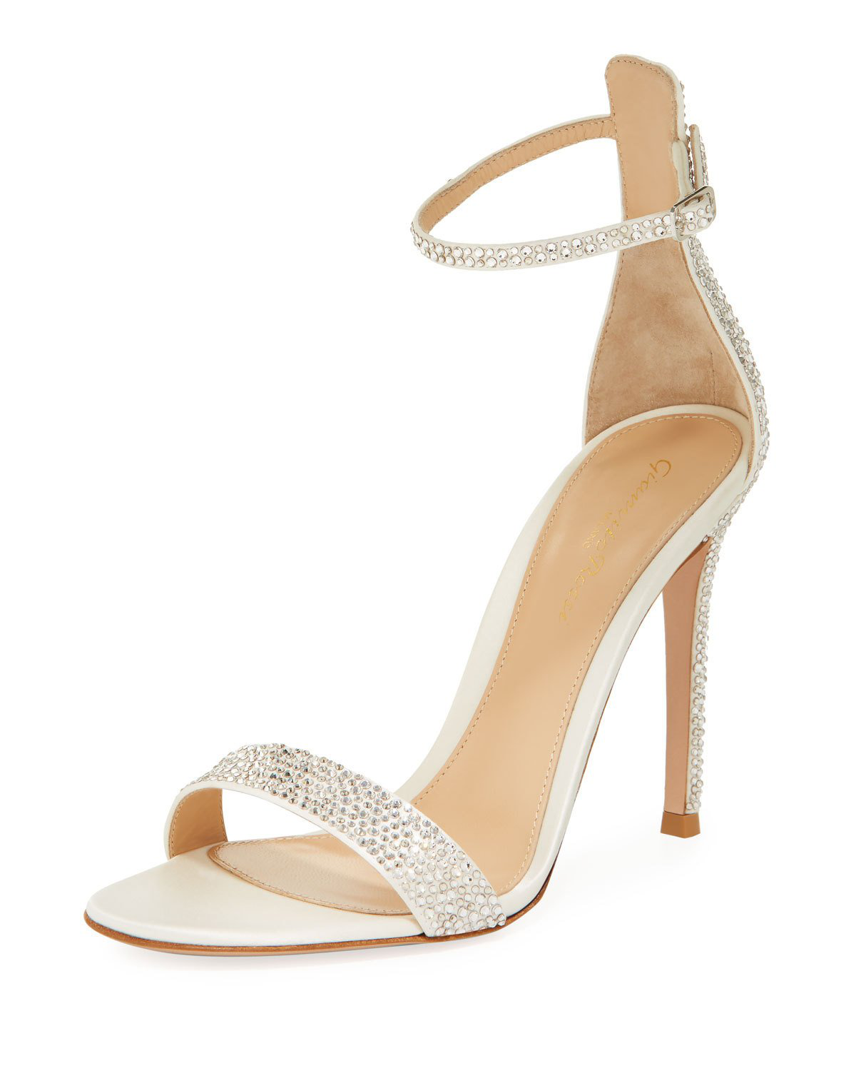 c20681cba99 Gianvito Rossi Crystal-Embellished Satin Sandals In White