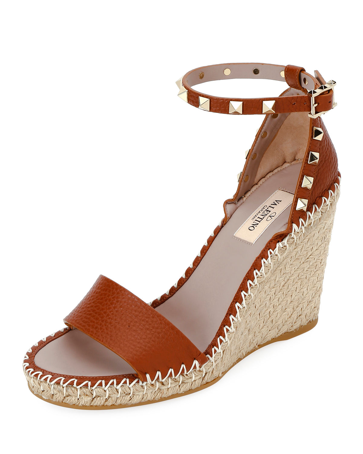 9f77cceef2a Valentino Grain Calfskin Leather Rockstud Double Wedge Sandal 95Mm In Brown