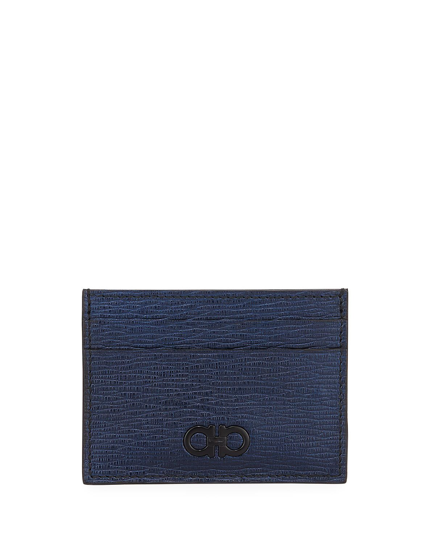 5ef5b9d3b21 Salvatore Ferragamo Men s Revival Gancio Leather Card Case With Magnetic  Money Clip In Navy