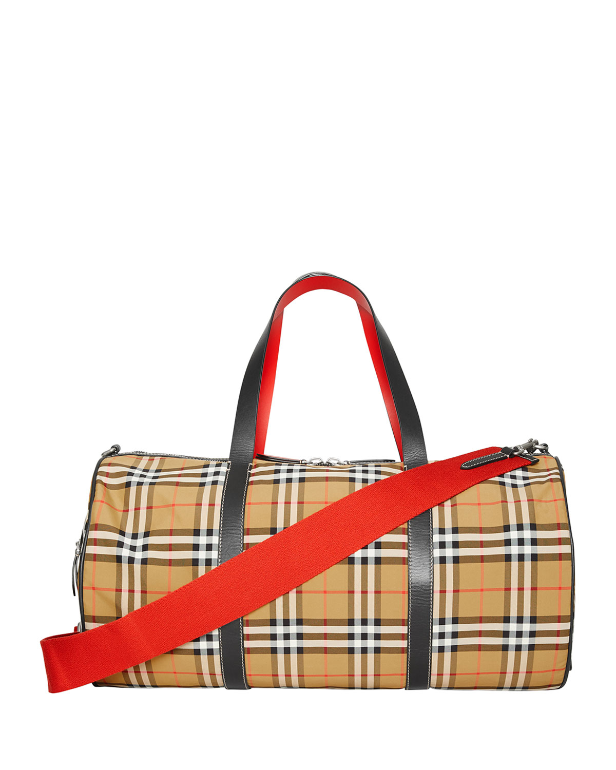 1319486e3fea Burberry Large Vintage Check And Leather Barrel Bag In Red