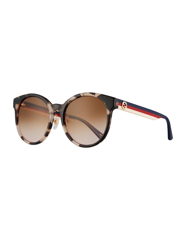 18031e09b Gucci 55Mm Round Sunglasses - Spot Havana/Multi/Brown Grad   ModeSens