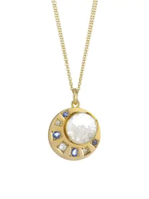 Renee Lewis 18k Yellow Gold, Sapphire & Diamond Shake Pendant Necklace