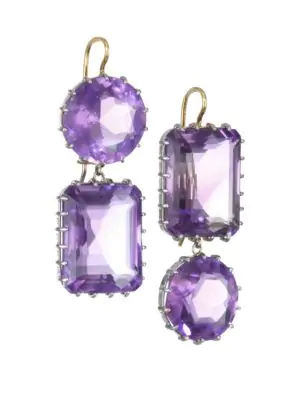 Renee Lewis 18k White Gold & Yellow Gold & Antique Amethyst Drop Earrings In Purple