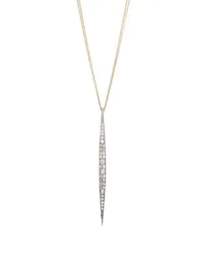 Renee Lewis 18k Yellow Gold, Platinum & Antique Diamond Bar Pendant Necklace