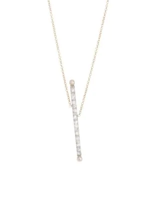 Renee Lewis 18k Yellow Gold, Antique Diamond & 2.5mm White Pearl Asymmetric Bar Necklace