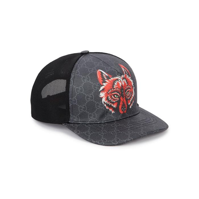 162ac3b21cd Gucci Men s Wolf Head Gg-Supreme Baseball Cap In Black