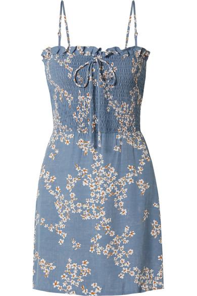7aa46d95 Faithfull The Brand Marni Shirred Floral-Print Crepe Mini Dress In Light  Blue